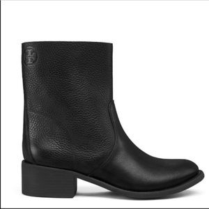 Tory Burch Siena Black Pebbled Leather Booties